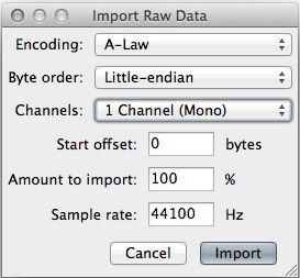 Raw import settings